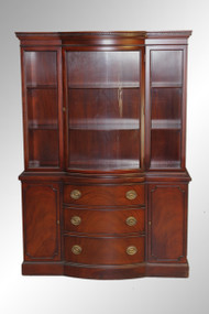 SOLD Antique Mahogany Duncan Phyfe Curved Door Breakfront by Drexel
