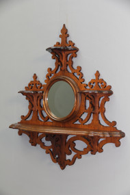 SOLD Antique Hanging Victorian Walnut Whatnot Shelf with Mirror