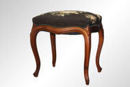SOLD Antique Victorian Walnut Needlepoint Vanity Bench Footstool