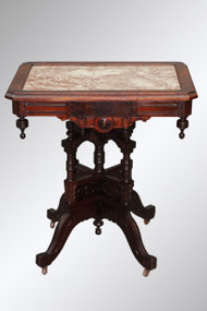 SOLD Antique Marble Top Burl Walnut Trim Parlor Stand