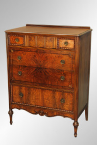 SOLD Antique French Burl Walnut Tall Chest