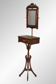 SOLD Antique Victorian Burl Walnut Gentleman's Shaving Stand