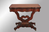 SOLD Antique Period Empire Game Table with Heart Design