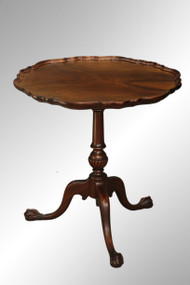 SOLD Antique Mahogany Pie Crust Ball and Claw Stand