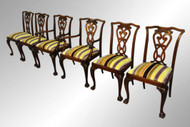 SOLD Antique Rare Set of Oak Chippendale Ball and Claw Dining Chairs