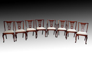 SOLD Set of 8 Solid Mahogany Queen Anne Dining Chairs