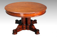 "SOLD Antique Victorian Round 48"" Split Pedestal Dining Table"