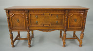 SOLD Carved Walnut Inlaid Sideboard / Credenza