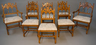 SOLD Set of Eight Walnut Gothic Style Dining Chairs
