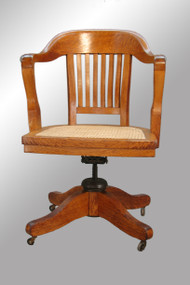 SOLD Antique Tiger Oak Lawyer's/Banker's Swivel Office Chair