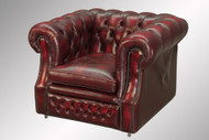 SOLD Antique 100-percent Red Leather Chesterfield Cube Chair