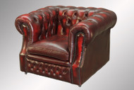 SOLD Antique 100% Red Leather Chesterfield Cube Chair