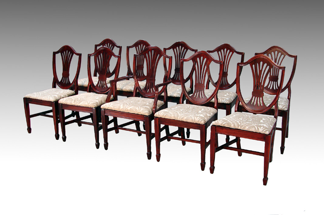 Terrific Sold Antique Rare Set Of 10 Mahogany Shield Back Dining Chairs Interior Design Ideas Gentotryabchikinfo