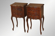 SOLD Antique Pair of Carved French Walnut Night Stands