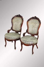 SOLD Antique Pair of Rosewood Carved Parlor Chairs