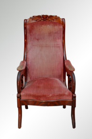 SOLD Antique Victorian Rose Carved Gent's Chair