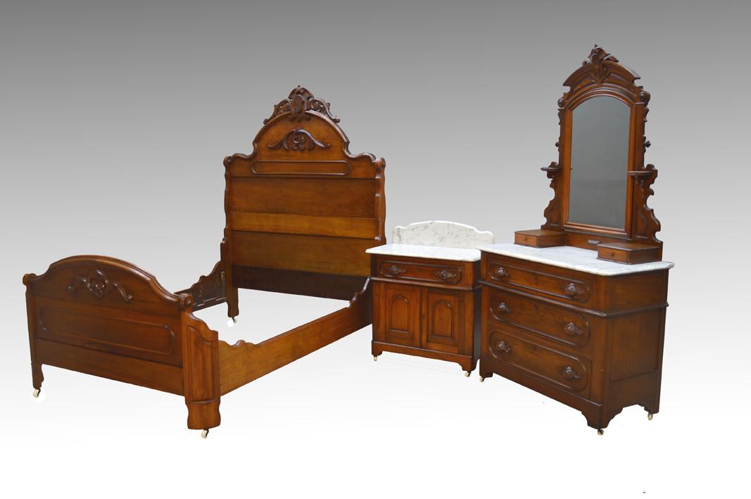 Sold Antique 3 Three Piece Walnut Victorian Marble Top Bedroom Set