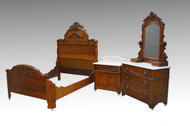 SOLD Antique 3 Three Piece Walnut Victorian Marble Top Bedroom Set