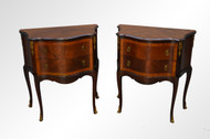 SOLD Vintage Pair of French Banded Serpentine Night Stands