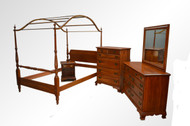 SOLD Vintage Cherry Solid Chippendale Bedroom Set by Jamestown Sterling Corp.