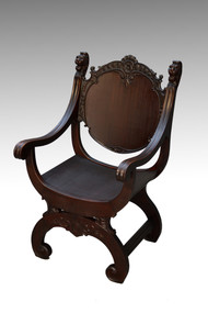 SOLD Antique Mahogany Lion face Barrel Seat Arm Chair