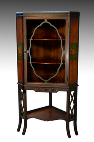 SOLD Vintage Hand Paint Decorated Walnut Corner China Cabinet – 1930s