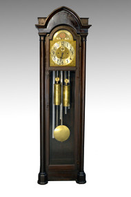 SOLD Vintage Mahogany Empire Grandfather Tubular Chime Clock