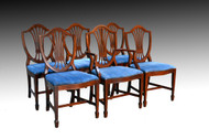 SOLD Vintage Set of 6 Mahogany Hepplewhite Formal Dining Room Kitchen Chairs *REDUCED PRICE*