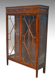 SOLD Antique Hepplewhite Inlaid Diamond Shape Glass China Cabinet Closet