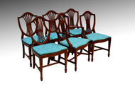 SOLD Vintage Set of 6 Six Formal Hepplewhite Dining Room Kitchen Chairs