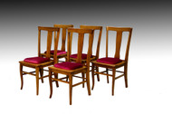 SOLD  Antique Set of 5 Five Oak Quarter Sawn Dining Room Kitchen Chairs