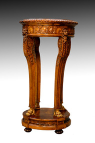 SOLD Vintage Carved Walnut Lion Head Claw Foot Pedestal Plant Stand