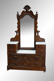SOLD Antique Victorian Marble Top Civil War Drop Center Mirror Chest **REDUCED PRICE**