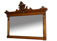 SOLD  Antique Fantastic Victorian Incise Carved Walnut Mantle Mirror