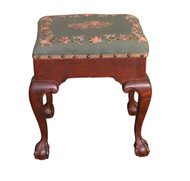 SOLD Antique Chippendale Centennial Hand Made Needlepoint Footstool