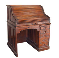 SOLD Antique Victorian Walnut Carved Pull Roll Top Desk Civil War Era
