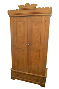 SOLD  Country Pine Paint Decorated Two Door Wardrobe