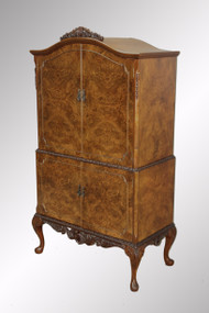 SOLD Antique Burl Walnut Carved Chippendale Exquisite Bar Cabinet