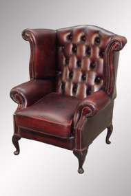 SOLD Antique Leather Chippendale Wing Back Chair from England