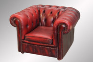 SOLD Antique 100-percent Genuine Leather Chesterfield Cube Chair