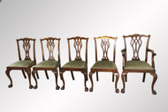 SOLD Antique Set of Five Chippendale Ball and Claw Quality Chairs