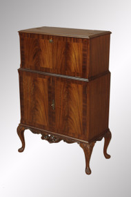 SOLD Antique Flame Mahogany Carved Chippendale Bar