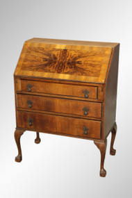 SOLD Antique Burl Walnut Chippendale Ball and Claw Desk