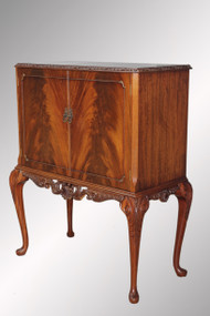 SOLD Antique Flame Mahogany Chippendale Carved Bar Cabinet