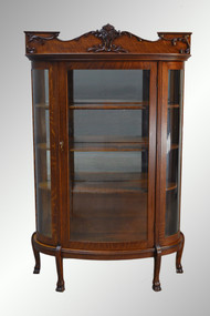 SOLD Large  Antique Triple Curved Glass Victorian Claw Foot Oak China Closet