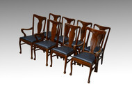 SOLD Antique Set of 8 Oak Dining Chairs - 1900s