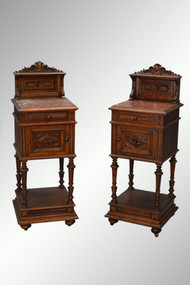 SOLD Antique Pair of Victorian Marble Top Night Stands