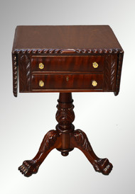 SOLD Antique Mahogany Empire Acanthus Carved Drop Leaf Two Drawer Sewing Stand