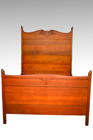 SOLD Antique Carved Oak Victorian Full Size Bed
