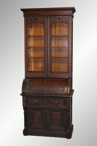 SOLD Antique Victorian Burl Walnut Cylinder Secretary Desk